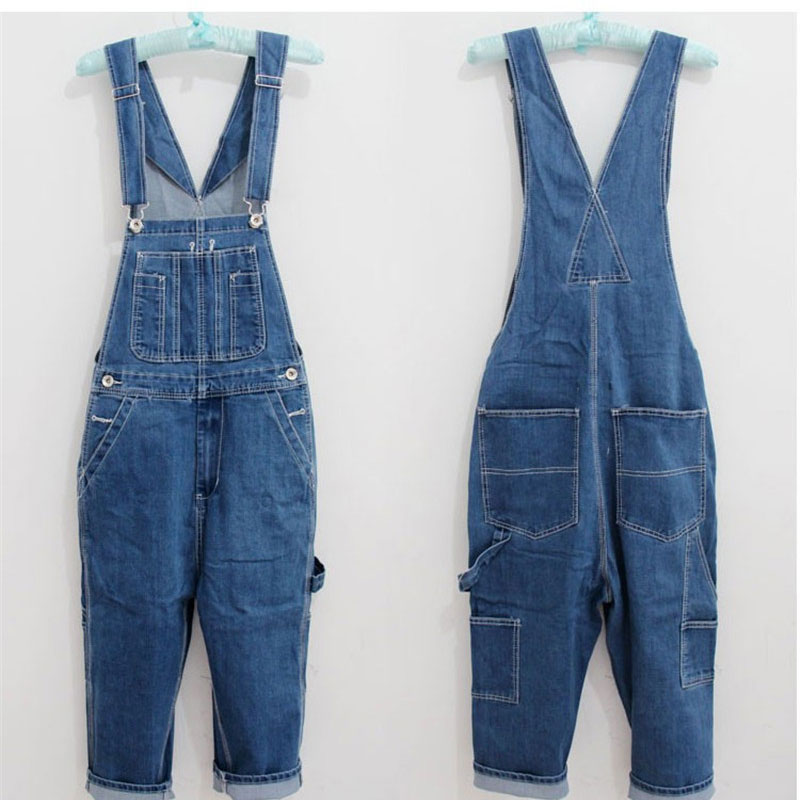 28-46 2017 New Jeans Men's Cargo Pants Men Workers Trousers Suspenders Big Yards Men's Denim Overalls Wave In Loose Pants лупа bao workers in taiwan ma 1003mf 3d 12