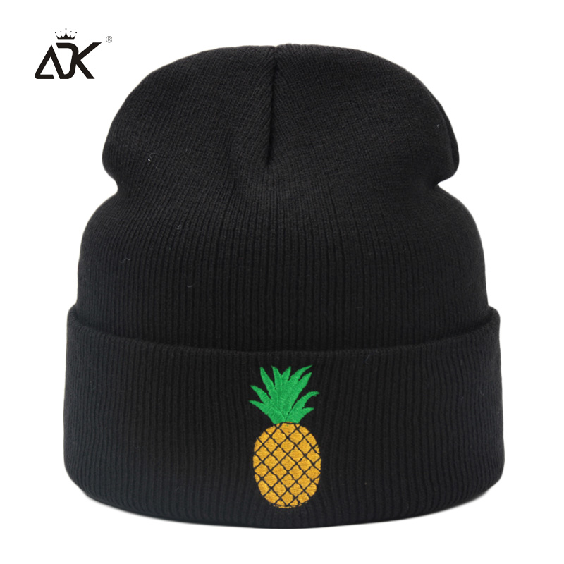 Beanie   Bonnet Femme With Embroidery Pineapple Hat For Girls Winter Thick Multi Colors Cuffed Hat Girl   Skullies     Beanies