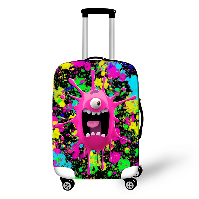 3D Print Cute Luggage Protective Covers For Travel 18 To 32 Inch Suitcase Cover Elastic Dust Trolley Luggage Protection Cover