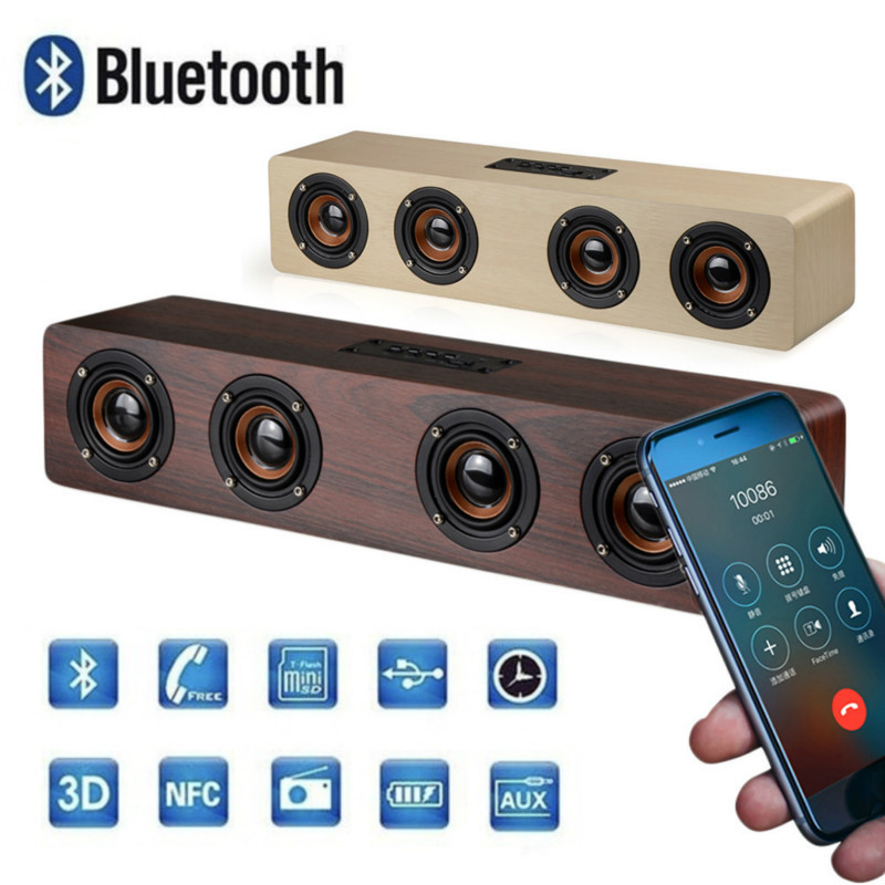 Retro Wooden Bluetooth Speaker HiFi Stereo Speakers TF Card AUX Subwoofer Portable Loudspeaker for TV Home Theatre Wood SoundBar цена