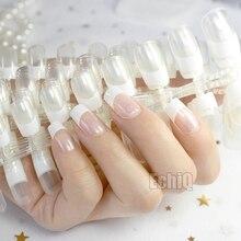 Wholesale 10 kits Transparent French Nail Tips White Squoval Medium Flat Acrylic Fake Nails DIY Design Lady Nails N207