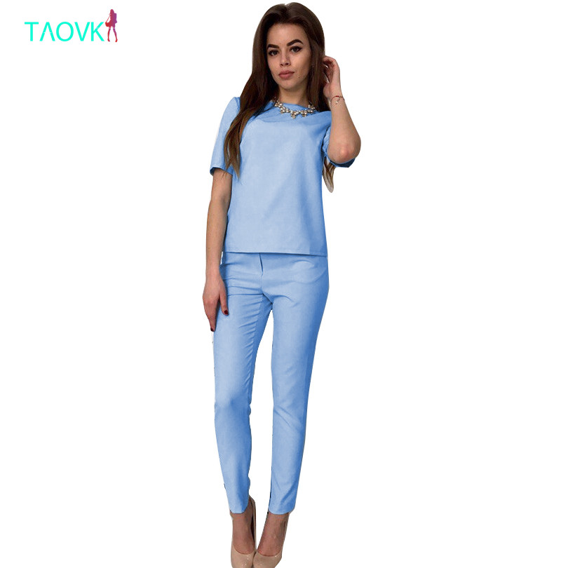 TAOVK Summer Women's 2-piece short Sleeve t-shirts pant Set