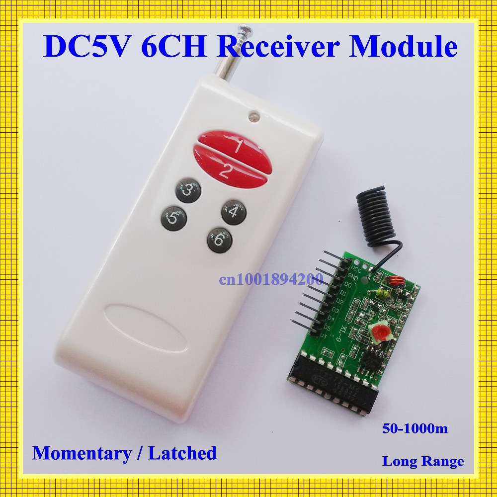 6CH RF Receiver Module with Decoding + Transmitter1000M  Wireless Remote Control System Momentary Latched TTL 6CH Signal Output new 1transmitter &4receiver module wireless remote control encoding module system momentery latched rf remote control switches