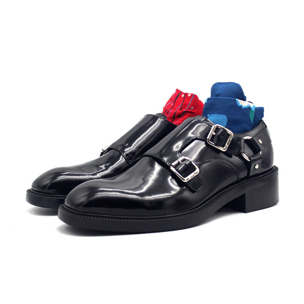 New men shoes metal ring Mengke shoe buckle bright black leather dress shoes thick sole chaussures hommeNew men shoes metal ring Mengke shoe buckle bright black leather dress shoes thick sole chaussures homme