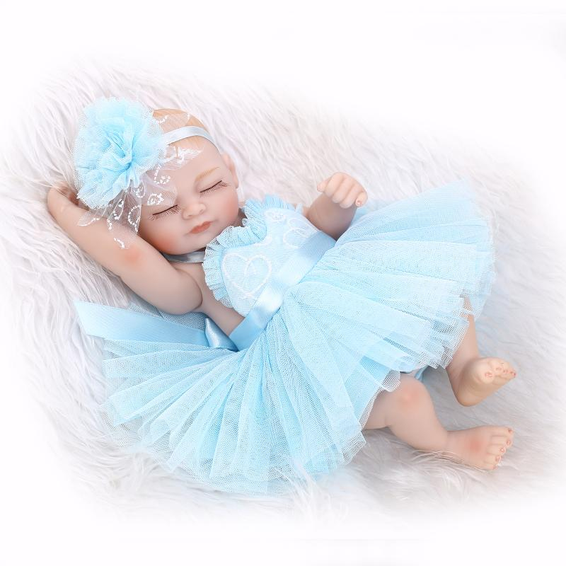 ФОТО 27CM mini baby reborn  Full Body Silicone reborn Babies with princess dress  boneca  Toys for bebe girls gift