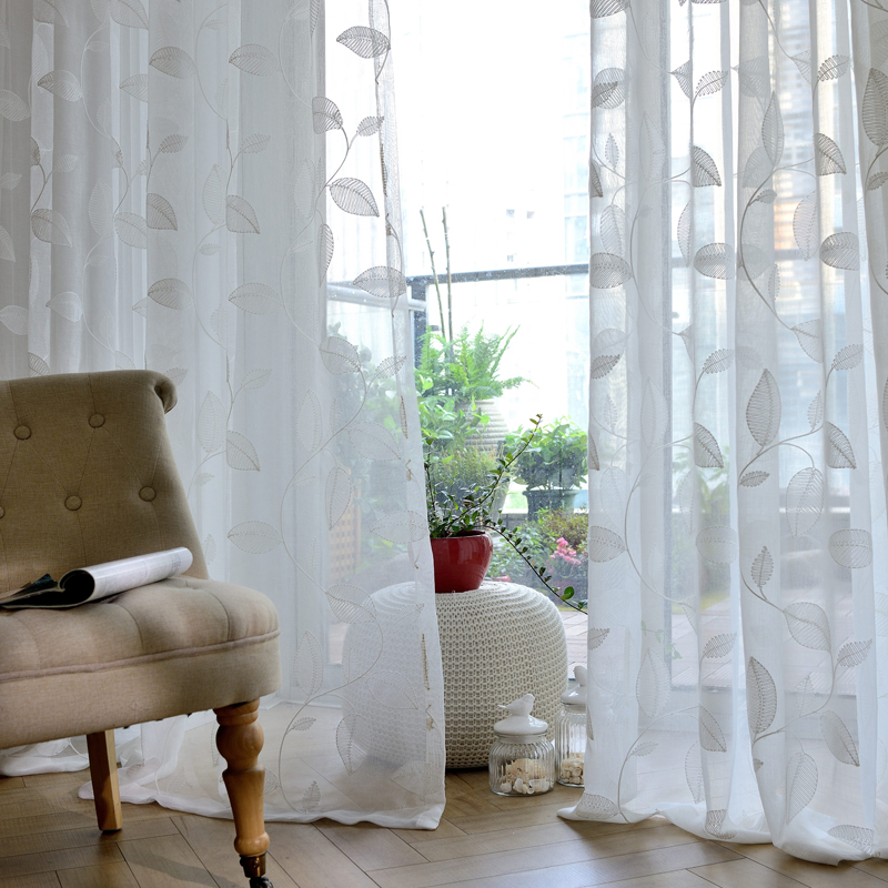 №Modern Leaf Embroidered ⊰ Voile Voile Curtains Bedroom