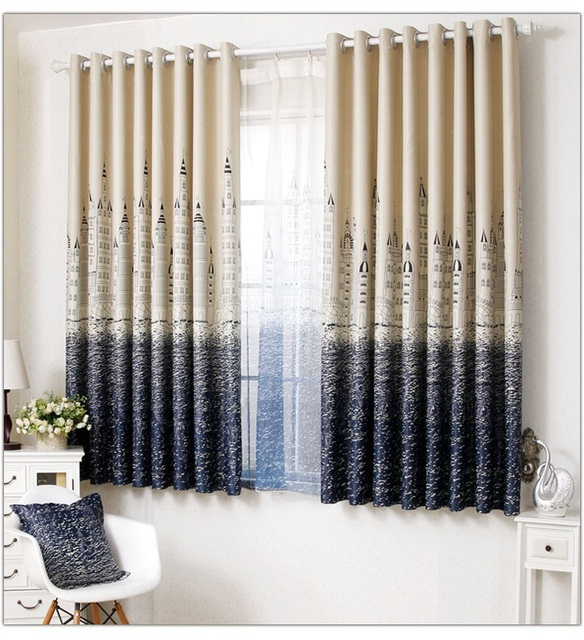 Modern Style Blackout Short Curtains Finished / High Quality Curtains For  The Study Bedroom