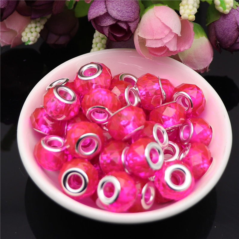 10pcs Clear Red Color Cut Faceted 5mm Hole Round Plastic Resin Spacer Beads Charms fit for Pandora Bracelet DIY Jewelry Making in Beads from Jewelry Accessories