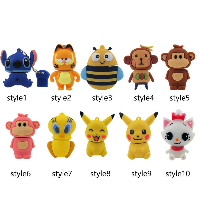 Pikachu Ponto Garfield Usb Flash Drive Linda Pen Drive de Disco Memory Stick Pendrive Presente Pokemon 128 mb 4 gb 8 gb gb 32 16 gb USB 2.0