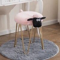 Creative wrought iron makeup stool lamb wash stool Nordic designer furniture vanity stool nail shop stool