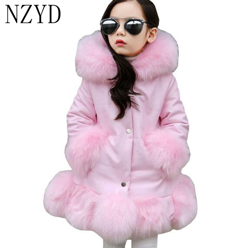 New Winter Cotton Girls  Coat 2017 Hooded Single-breasted Solid color Cotton Coat  Fashion Leisure Kids Warm Down Jacket DC598 jm collection new navy single breasted coat l $99 5 dbfl
