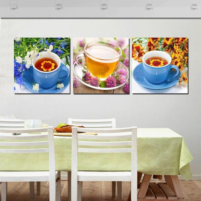Moderne Wohnkultur Blume Tee Tasse Malerei 3 Stück Farbe Bilder Drucken  Leinwand Wand Dekorationen Für Küche