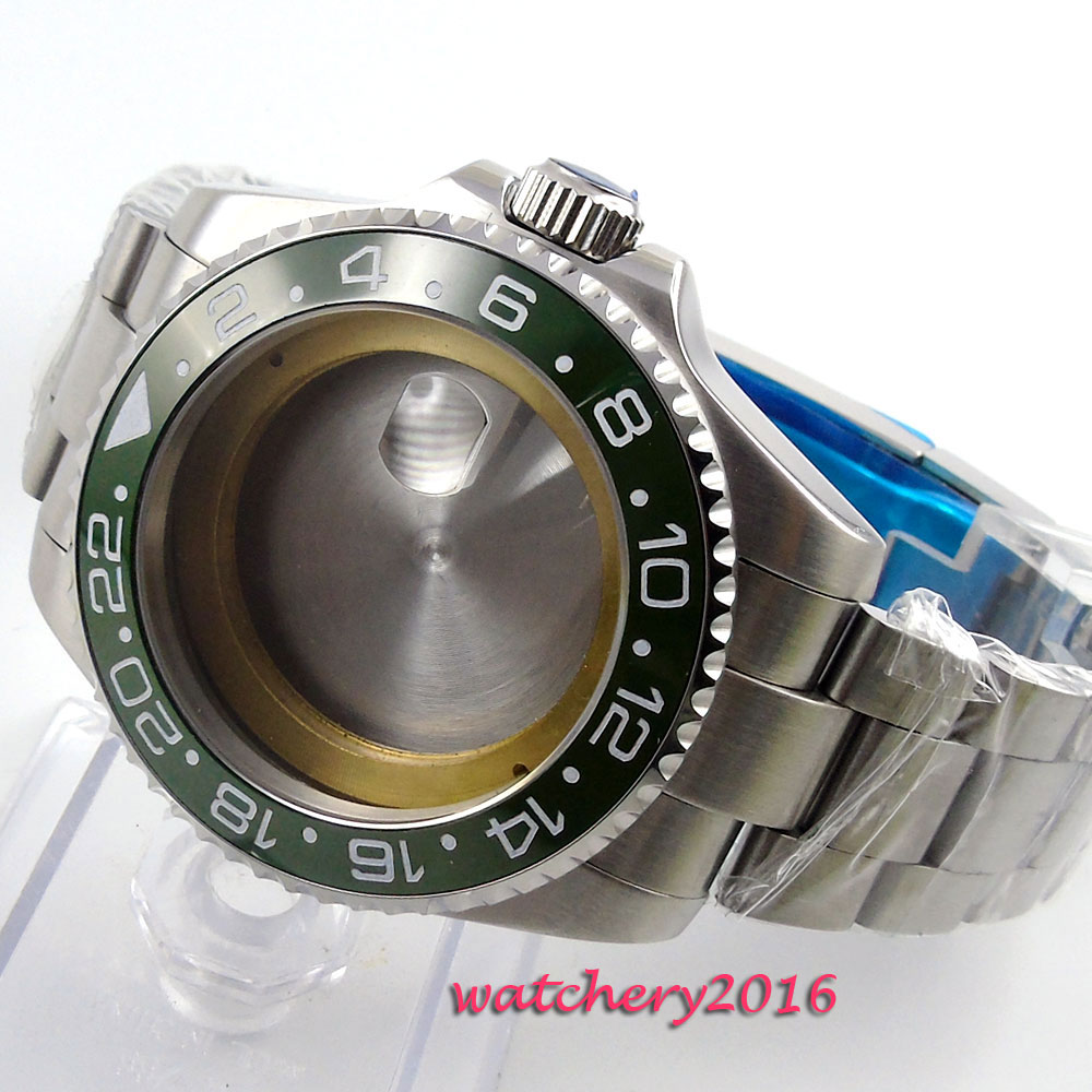 43mm sapphire glass green ceramic bezel Watch Case fit ETA 2824 2836 Movement цена и фото