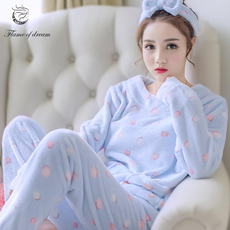 Coral Fleece   Pajamas     Sets   Winter Pijama Mujer Pyjamas Women 1127