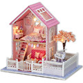 "DIY Miniature Dollhouse Furniture Wooden Doll House Assembling Toys for Children,""Pink Cherry Blossoms"" Miniaturas House Toy"