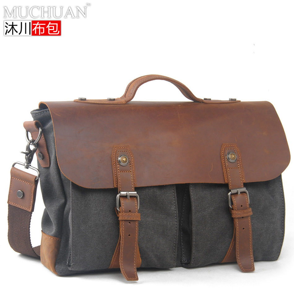 Cloth With Crazy Horsehide New Restore Ancient Ways Single Shoulder Portable Briefcase Messenger Package Leisure Time Canvas  muchuan cloth 2014 european restore ancient ways trend man single shoulder package diagonal package ma am leisure time package
