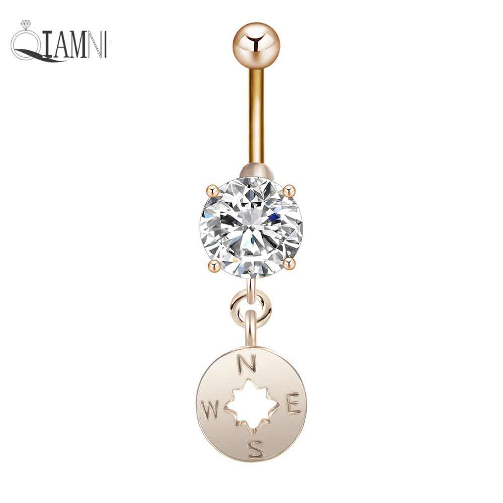 Compass dangle belly ring