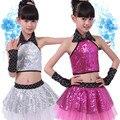 Crianças Sequin Dança Jazz moda Traje de Dança Moderna valsa Latin show no palco vestido de dança vestidos