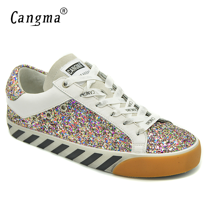 CANGMA Stylish Women Sneakers Sequined Flats Glitter Pink Breathable Shoes Suede Genuine Leather Shoes Female Brand