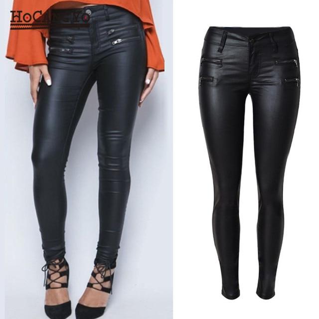 HCYO Women Coated Jeans Pants Low Waist Skinny PU Leather Trousers Zippers  Motorcycle Pants Jean Women Coating Pencil Pants 7f0ac312fa