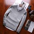 8 colores, Nuevos hombres de la Moda suéter pullover Solid V-cuello de lana de punto de algodón suéteres de los hombres negro gris blanco amarillo rojo XKE1501