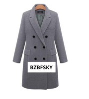 2019 Autumn Winter Coat Women Casual Wool Solid Jackets Blazers Female Elegant Double Breasted Long Coat Ladies Plus Size 5XL