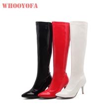 1ba0b12da3f Sale Brand New Winter Fashion Black White Women Knee High Boots Spike Heels  Lady stripper Shoes
