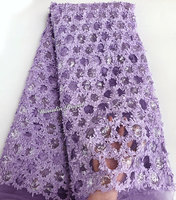 baby purple tulle lace sequins embroidery African french lace fabric 5 yards per piece