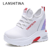 New Women High Platform Shoes 2019 Summer Breathable Mesh Shoes Women Height Increasing Pumps 9 CM Thick Sole Bling White Shoes стоимость