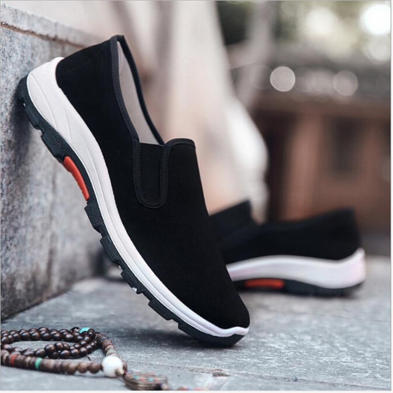 Fibra Hombres Zapatos En Casuales Negro Mocasines Paño Respirable Par Vulcanizados 1 Deslizamiento xIw5qCEgE