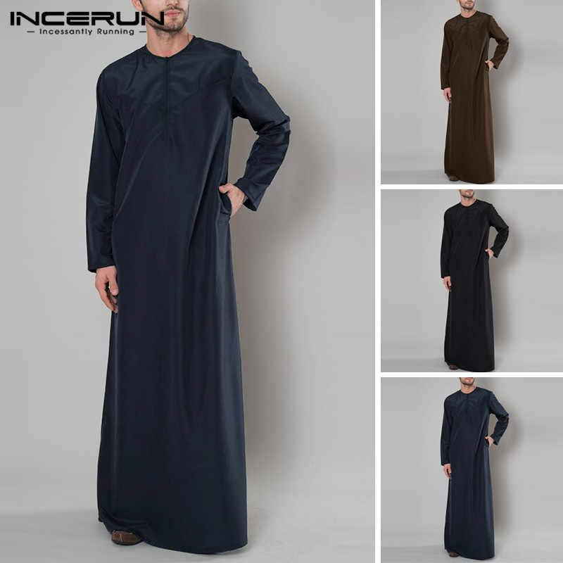 INCERUN 2019 мусульманский мужской сплошной цвет длинный халат Арабский исламский длинный рукав Саудовская Аравия Средний Восточный халат для мужчин jubba tobe 5XL