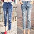 Denim Ripped Jeans ajustados para mujeres puños con bolsillos Jean delgado Femme corto Leggings mujeres