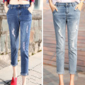 Denim Ripped Skinny Jeans for Women Cuffs With Pockets Jean Slim Femme Calf Length Leggings Women