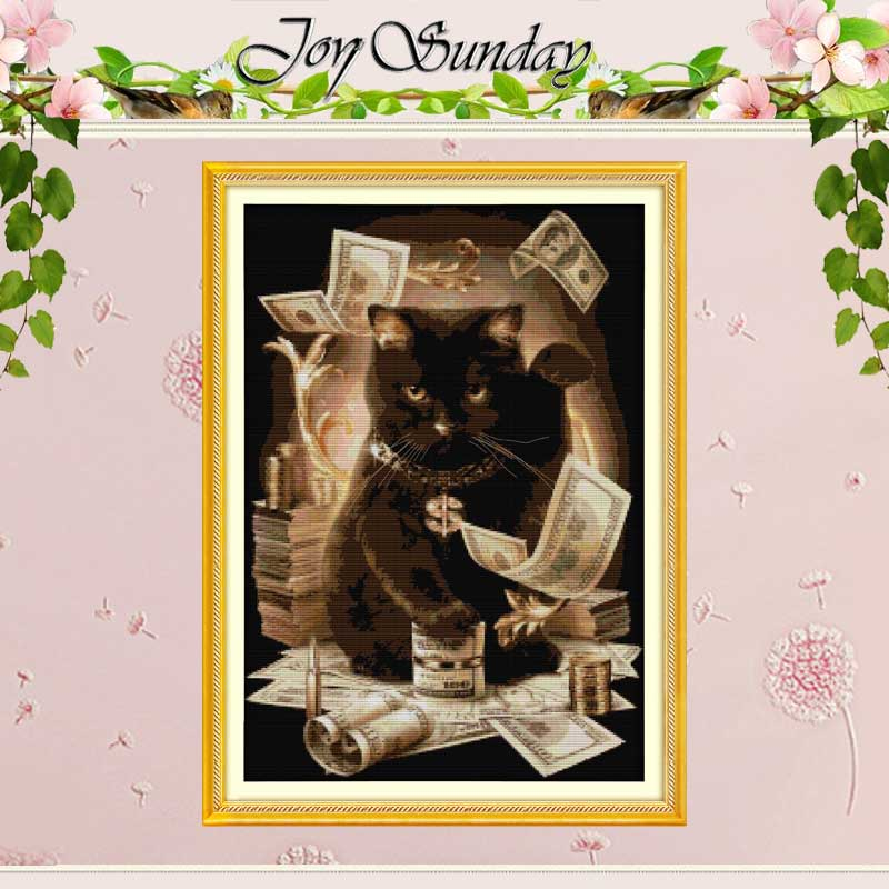 Gratis Ship Cat och Cash Counted Cross Stitch 11CT 14CT Cotton Cross Stitch Sets Handgjorda Cross Stitch Kit Broderi Needlework