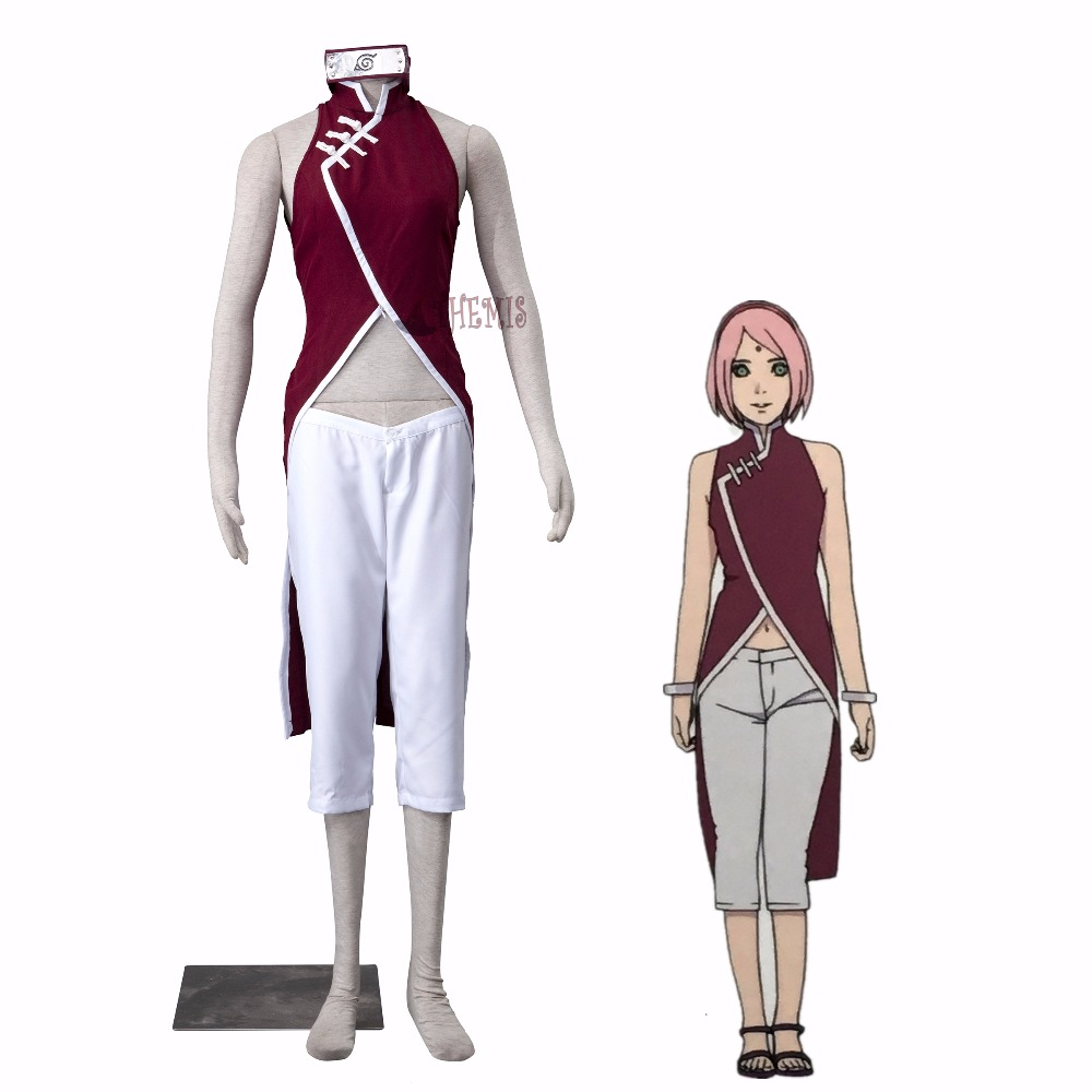 Athemis Naruto Cosplay Costume BORUTO-Haruno Sakura cosplay outfit anime cosplay car styling decoration strips trim for opel insignia 2014 2015 stainless steel full window trim car styling oem 4 10