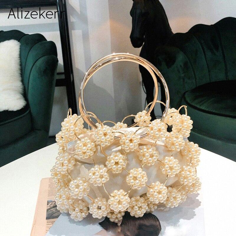 Hollow Out Pearl Ball Evening Bag Women 2019 Korean Handmade Metallic Ring Handle Ladies Beaded Evening Clutch Bag Purses Gold