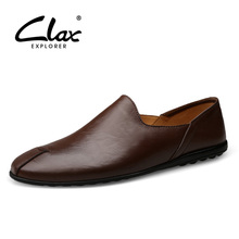 CLAX Men's Flats Shoes Slip on 2018 Summer Fashion Casual Leather Shoe Genuine Leather Male Leisure Loafers Boat Shoe Breathable цена