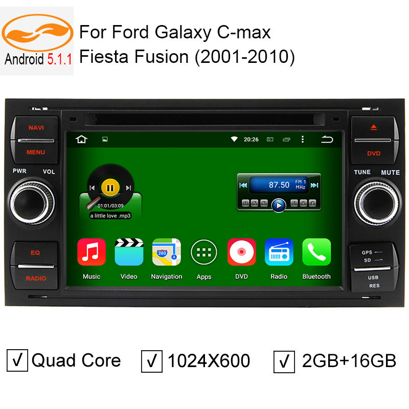 Android 5.1.1 Car Radio DVD GPS Head Unit for Ford Focus Galaxy S-Max Fusion Fiesta HD Screen Quad Core 2GB + 16GB