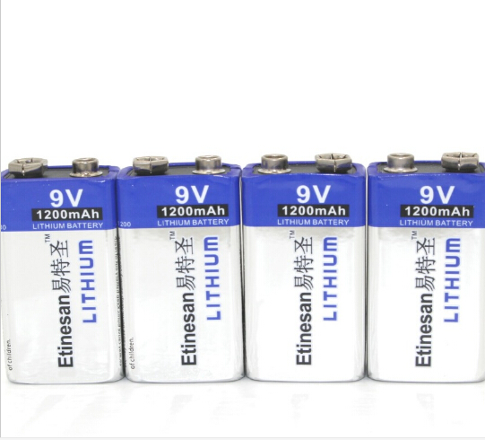 Powerful 4pcs/lot 1200mAh Etinesan 9v Li Batteries 9V Li-ion Lithium Battery Ultra Long Life USE for Smoke Alarms