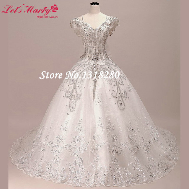 Luxury Ball Gown Beaded Bridal Gowns With Rhinestone Straps Long Lace Wedding Dresses 2017 Formal