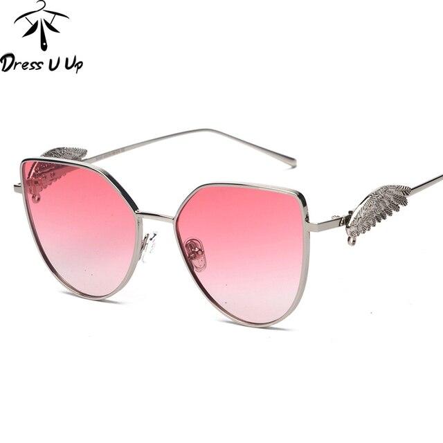 d51df71b87242 DRESSUUP Hipster Cat Eye lunettes de Soleil Femmes Marque Designer Aile  Avec La Chaîne Lunettes Nuances