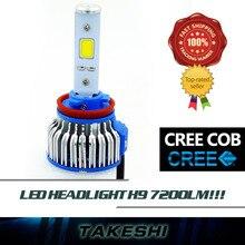 2x H9 High Power 48W 7200LM/Set LED COB Car Auto Headlight Headlamp lights 6000K Bright White Just Plug&Play W/ Fans