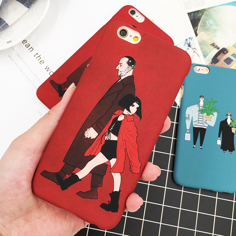 The Professional Case For iphone 8 7 6 6S SE 5S Capa Cartoon Hard PC Matte Frosted Cover Movie Leon Mathilda Pattern Phone Cases ...