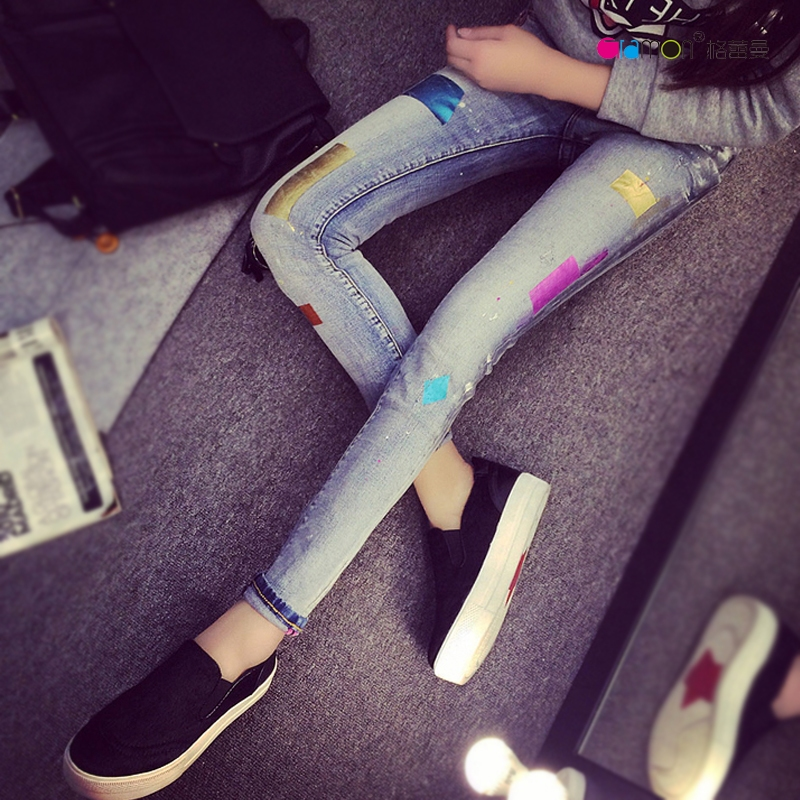 ФОТО 2016 New Fashion Spring Style Skinny Jeans Woman Street Style Patchwork Ripped Jeans Ladies Denim Pants Casual Pencil Pants