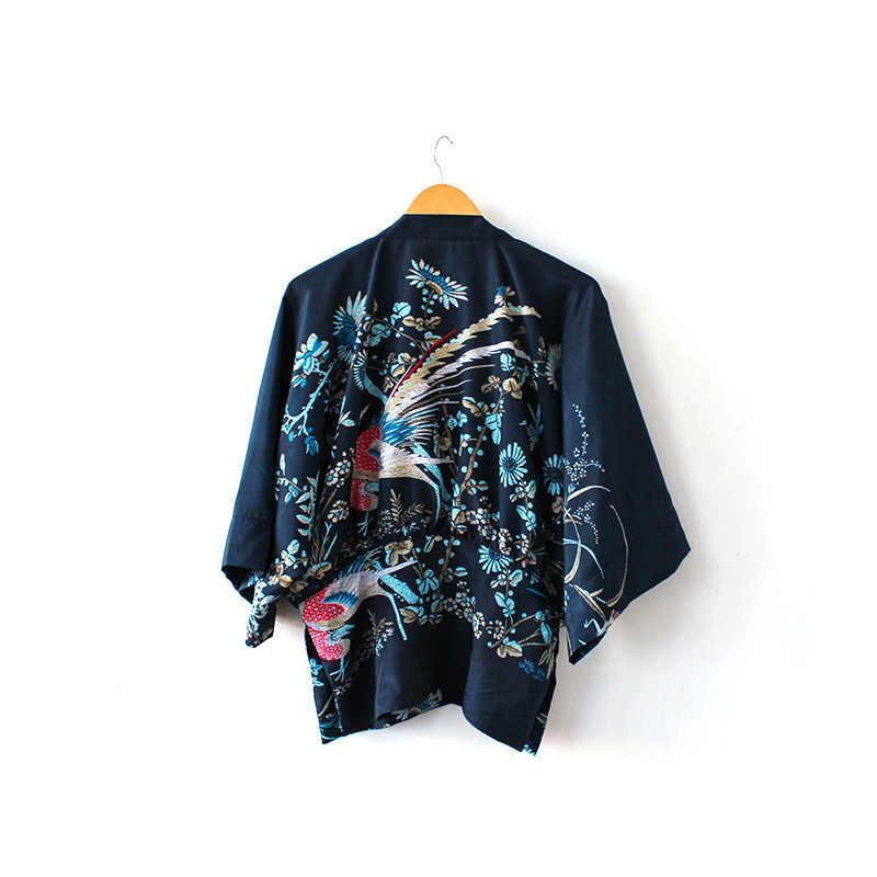 """Для женщин драпировка кимоно кардиган в Феникс печати рукав """"летучая мышь"""" рубашка с спереди открытым глубоким вырезом Блузки для малышек"""