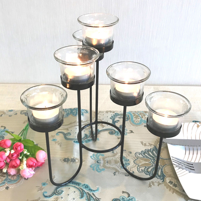 Candle Holder Table Metal Candlestick Geometric Retro Candle Holders Romantic for Wedding/Dinner Decoration Candelabra GZT086 3