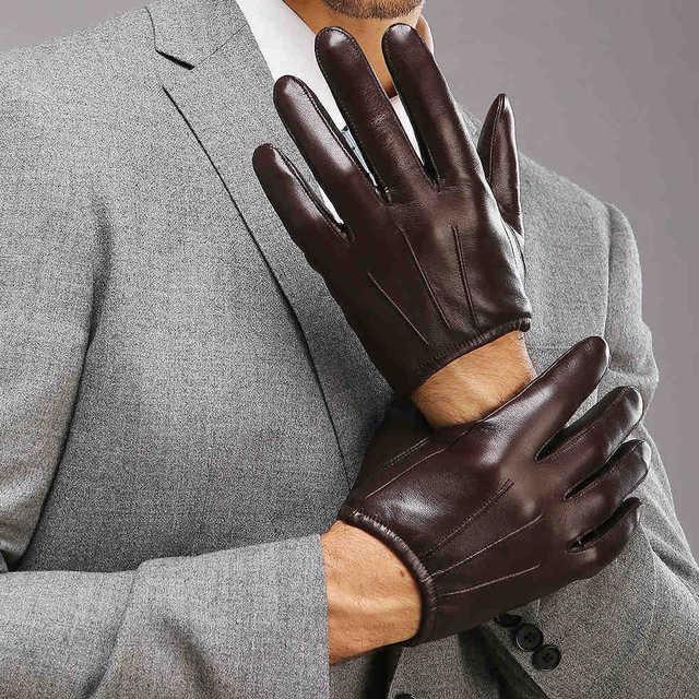 2018 Top Fashion Men Genuine Leather Gloves Wrist Sheepskin Glove For Man Thin Winter Driving Five