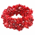 SUNYIK Red Coral Chips Beads Bracelet Bangle