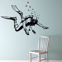 High Quality Scuba Diver Wall Stickers Vintage Style Home Decor Sticker Removable Wall Decals Vinyl