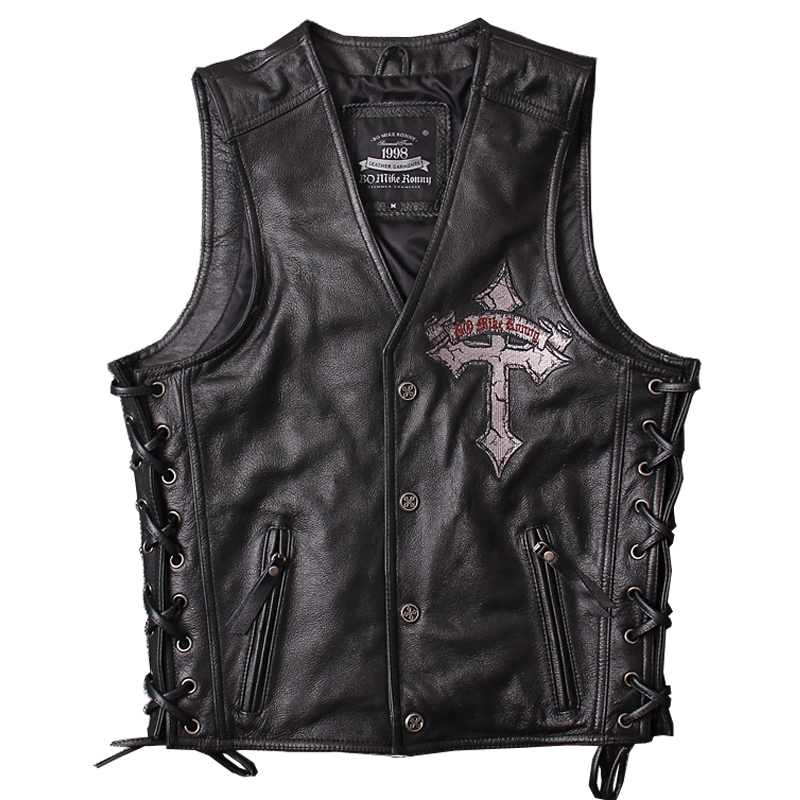 2019 Black Men Skull Embroidery Genuine Leather Motorcycle Vest Real Thick Cowhide Slim Fit Leather Biker Vest 4XL FREE SHIPPING